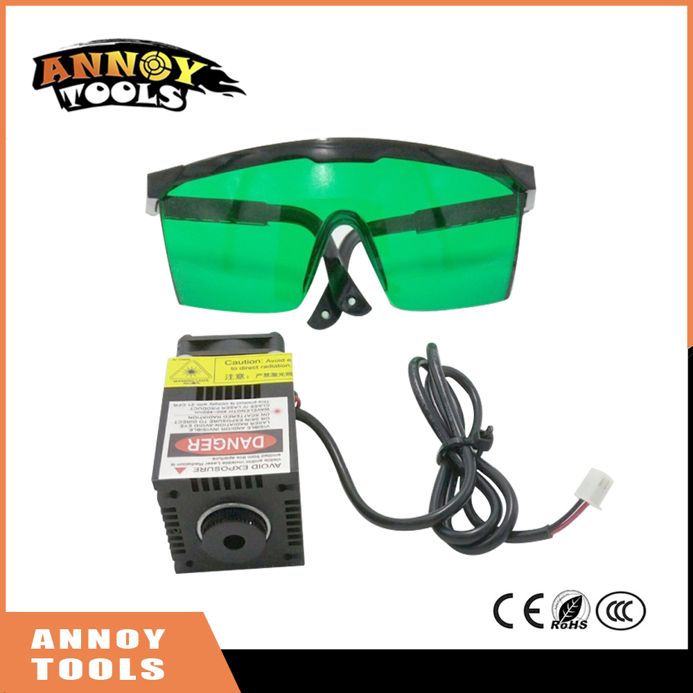 500mw 405NM focusing blue purple laser module laser head, laser tube diode hx2.54 2p port+protective googles for engraving <br>