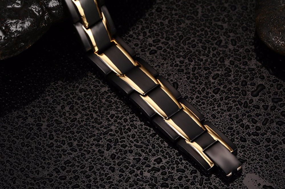Exquisite Mens Magnetic Bracelets Stainless Steel Men Magnetic Therapy Negative Ion Bracelet Gold-color Black Gents Fashion Jewelry pulseira masculina 14