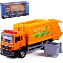 RMZCity/ 1:64 Alloy Sanitation Engineering Vehicle Simulation Garbage Truck Model Gift for Children Toys, with 1pc Rubbish Bin(China)