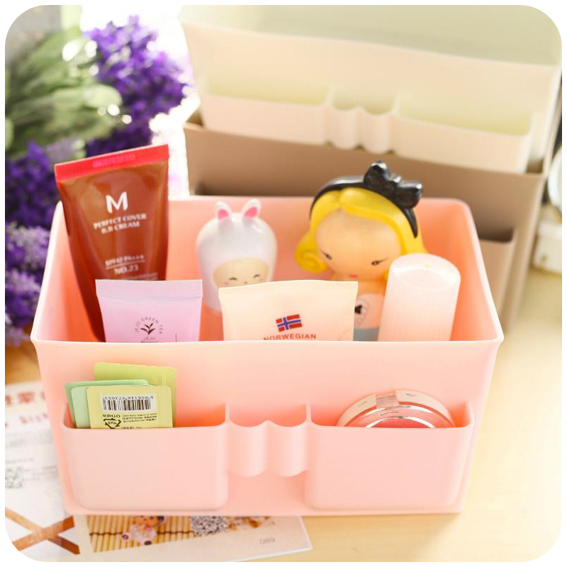 Korean Large Capacity Multifunction Make Up Cosmetics Storage Box Container Bag Dresser Desktop Cosmetic Makeup Organizer(China)