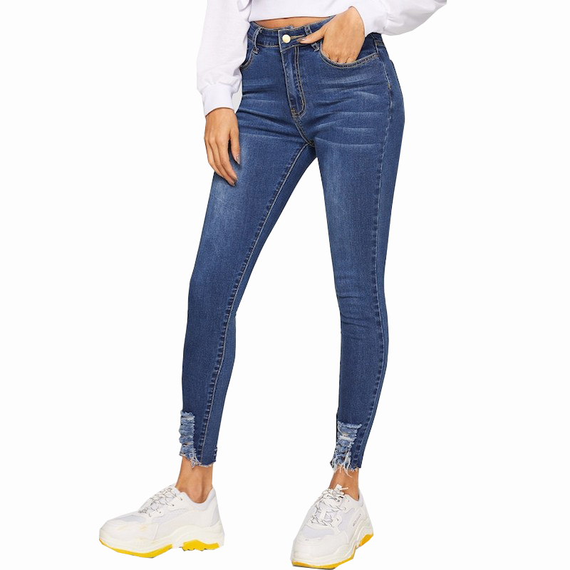 2019 New Spring Summer Hole Elastic Waist Ripped Feet Jeans for Women Solid Color Women Jeans All Match Jean Femme Plus Size