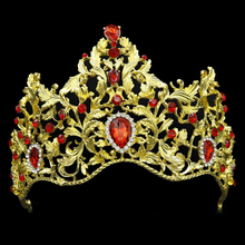 Vintage Baroque Large Pageant Crowns Red Crystal Bridal Prom Queen Tiara Wedding Hair Jewelry Bride Hair Accessories