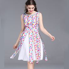 2017 Runway Sweet Fancy Flowers Prints Women Tank Dress, Slit Tape Tassels Unique Chiffon Dress(China)