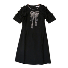 Buy Ky&Q 2017 Black Summer Women Mini Dresses Short Sleeve Ruffles Bow Beading Slim Party Vestidos Fashion Ladies Sexy Dress Tunic for $32.14 in AliExpress store