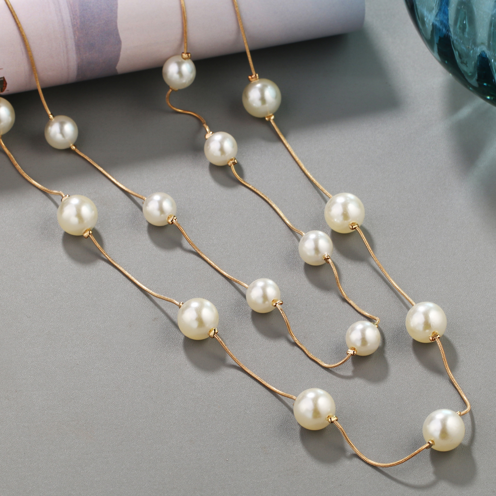 HTB1PXoCRFXXXXcwaXXXq6xXFXXXt - Simulated Pearl Jewelry Collier Fashion Long Necklaces & Pendants Big Multilayer Christmas Gifts Gold for Women Collares Bijoux