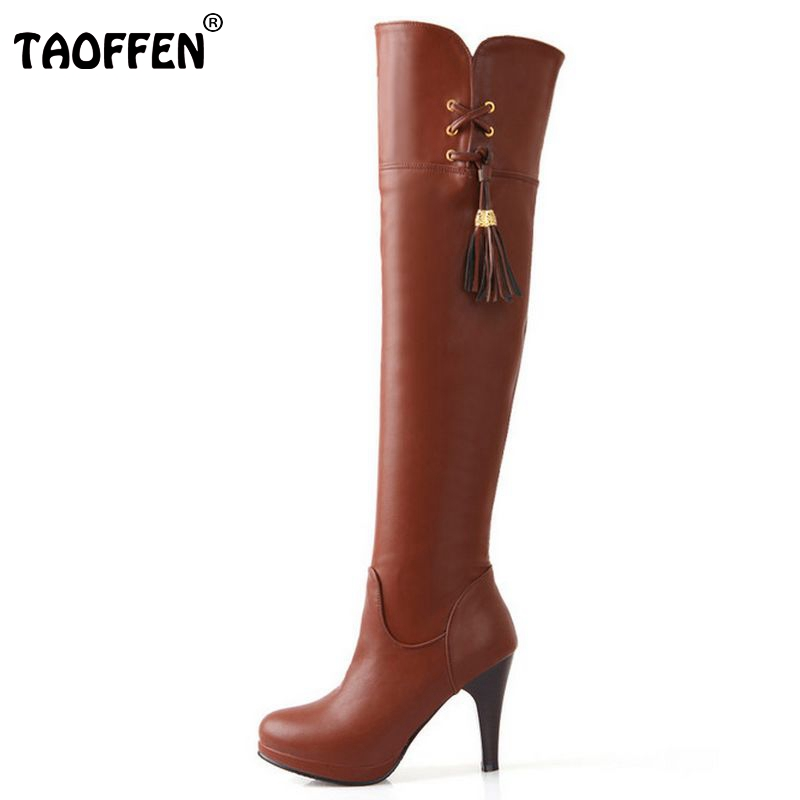 Free shipping over knee high heel boots women snow fashion winter warm footwear shoes boot P14731 EUR size 32-48<br><br>Aliexpress