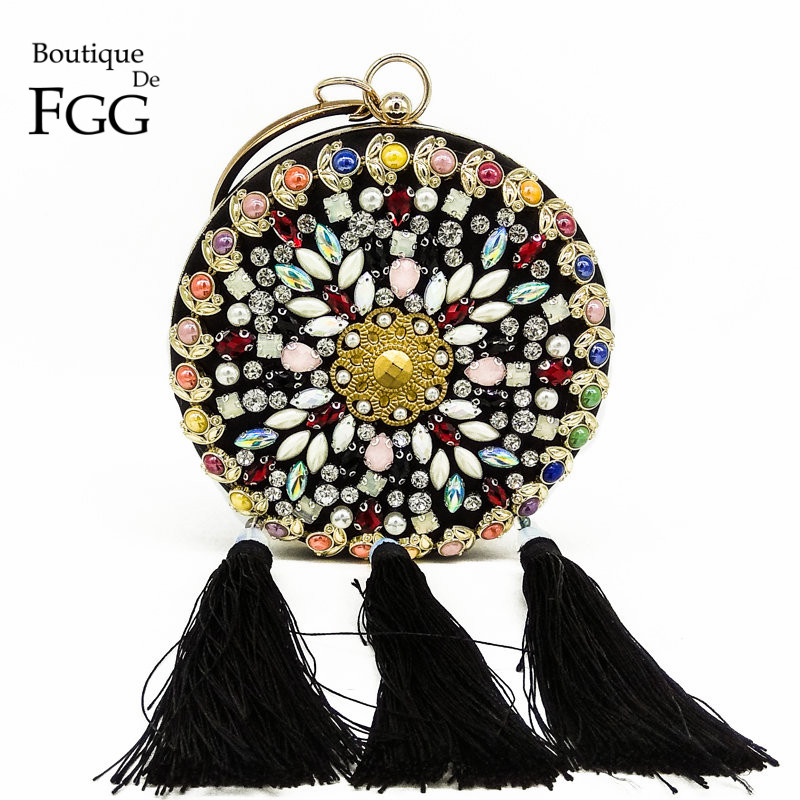 Boutique De FGG Multi Beaded Crystal Women Tassel Black Satin Evening Bag Wristlets Purse Fashion Party Wedding Handbag Clutch<br>