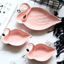 Pink Flamingo Soup Plates Cute Pastry Fruit Cake Dishes Porcelain Tray Salad Sushi Dinner Ceramic Tableware Girl Xmas Gifts(China)