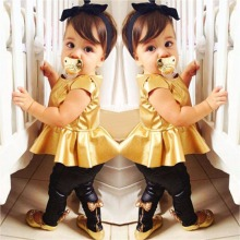 Retail Fashion Baby Girls Kids Shirt Dress + Legging Pants Children Clothes Sets Suit Outfits Golden+Black HJ2(China)