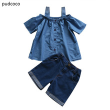 Mom Daughter Family Matching Clothes Set Women Baby Girls Kids Outfits Off Shoulder Tops Denim Pants 2pcs Summer Clothing Set(China)