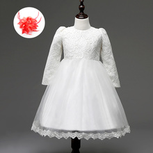 Fashion 3 Months To 10 Years Baby Infant Children Frocks and Gowns for Kids Long Sleeve Big Bow Flower Girl Dresses for Weddings