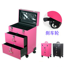 Elegant PVC leather makeup nail polish carry case, cosmetic train case makeup trolley case for nail polish(China)