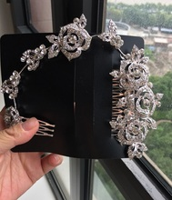 Slam styling crystal long wedding hair comb bridal hair accessories handmade hair jewelry(China)