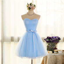 2017 new arrival short prom dress for women blue formal gowns for party homecoming with bow sexy sweetheart cheap in stock
