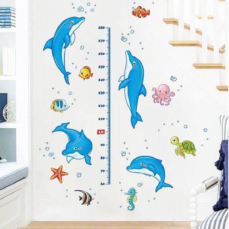 3D Dolphins Tropical life Wallpaper Decal Dercor Home Kids Nursery Mural  Home