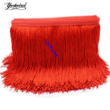 15CM Long Latin Fringe Tassel Polyester Solid Color Dance Dress Trimming Macrame Lace Single Band Latin Samba Sahes 24 Colors
