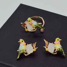 French Les Nereides Enamel Gem Bird Earring Necklace Rings Jewelry Sets For Women Luxury Party Jewelry Top Quality(China)