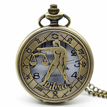 Antique Bronze Twelve Constellations Hollow Steampunk Pocket Watch Pendant Necklace Quartz Fob Watch Gift Clock