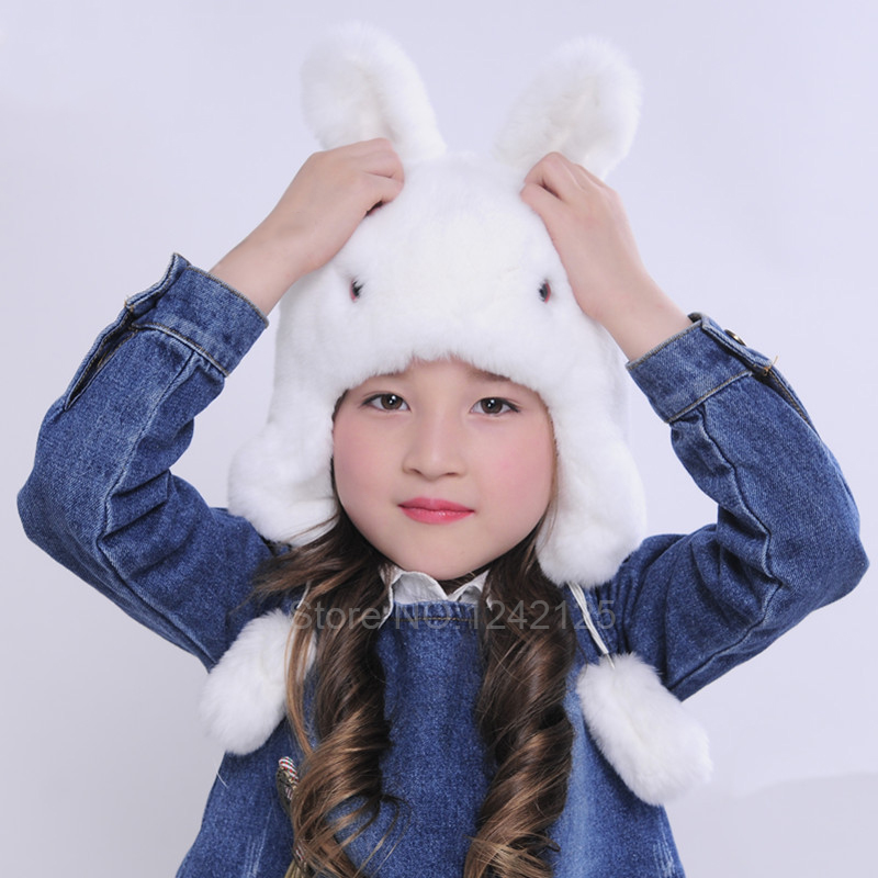 New winter unisex  children rex rabbit fur hat lovely Cartoon rabbit fur hat brim protective ear warm character earmuff hat caps<br>