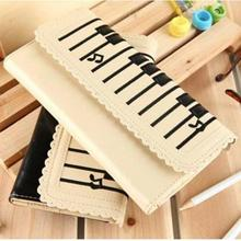 Women 2-Layer Purse Piano Keys Pattern Pocket Money Bag Lovely Medium Type Card Bag *35