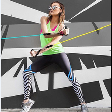 2017REDshark Jogging Running Trousers Gym leggings Black and white stripes half length printing hip stretch high waist leggings
