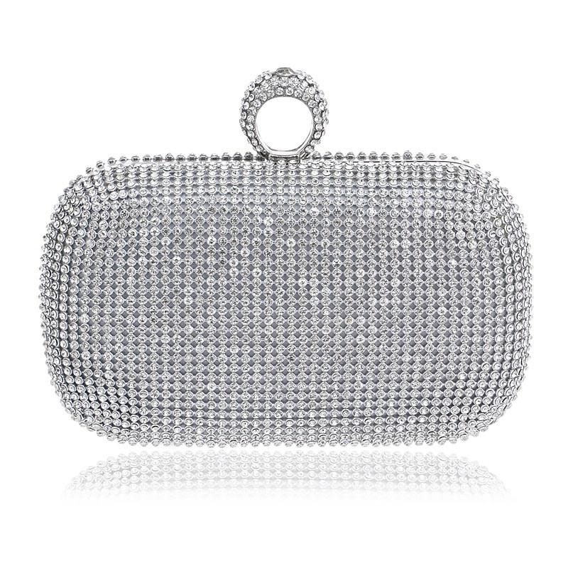 2017 NEW Rhinestones women clutch bags diamonds finger ring evening bags crystal wedding bridal handbags purse bags holder<br><br>Aliexpress