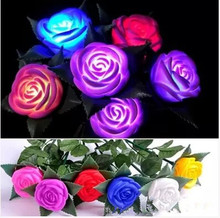Hot selling Romantic Changeable Color LED Rose Flower Light Roses Love Lamp Best for Valentine's Day Christmas