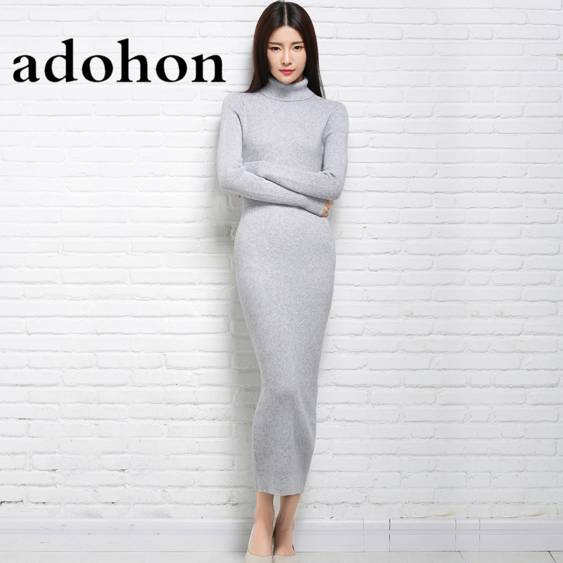 adohon 2017 womens winter Cashmere sweaters and auntmun women knitted Pullovers High Quality Long Female Trutleneck Ankle-LengthÎäåæäà è àêñåññóàðû<br><br>