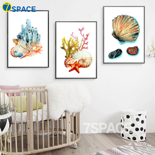 7-Space Colorful Marine Animals Canvas Painting Print Poster Nordic Wall Art Living Room Study Decor Canvas Pictures No Frame