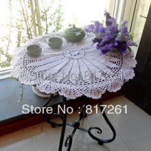 2013 new french style sunflowers 53cm round white lace table cloth cutout table runner cover towel for banquet wedding party(China)