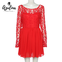 AZULINA Women Sexy Lace Dress Vestidos Robe Female O-neck Long Sleeve Backless See-through Lace Crochet A-line White Red Dresses(China)