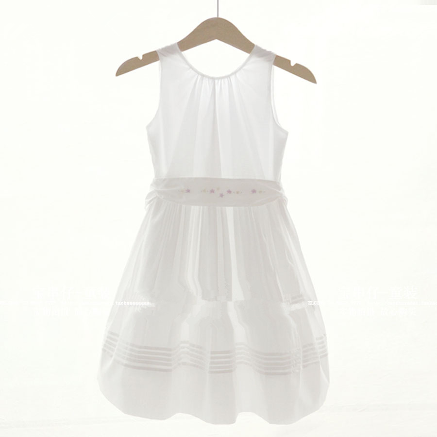 Elegant European and American style French brand girls dress White girl dress Cotton girl dress  <br>