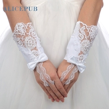 2017 Short Fingered Lace Bridal Wedding Gloves Wrist Length Ribbon Evening Prom Party Accessories White Free Shipping