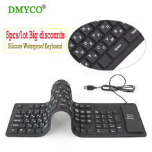 5pc/lot Big discounts 109keys Keyboards Black USB wired Russian silicon portable keyboard Teclado Layout for Desktop Notebook PC