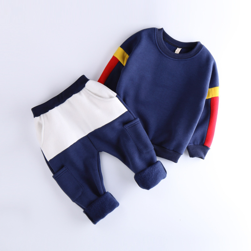 Autumn Winter Children Boys&amp;Girls Clothing Sets Casual Long Sleeve Stitching Pullover Coat+Long Pant Thick Warm Sport Suit 2-7Y<br><br>Aliexpress