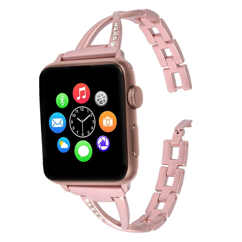 Luxury Crystal Diamond Stainless Steel Watch Strap For Apple Watch Band Link Bracelet Strap for iWatch Series1 2 3 Sport&amp;Edition<br>