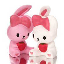 2017 New Arrival 16cm Jumbo Kawaii Cute Cartoon Rabbit Squishy Animal Soft Slow rising Scented Break Cake Kid toy Gift Wholesale