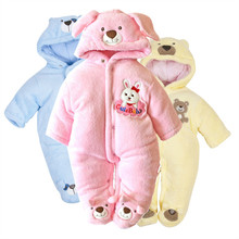 V-TREE Rabbit baby winter rompers thick fleece overalls children winter boy girl clothing snow wear baby costume newborn clothes