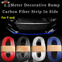 Best 250cm Front Bumper Lip Kit carbon fiber rubber protect car bumper soft strips for kuga fusion fiesta transit mustang ranger