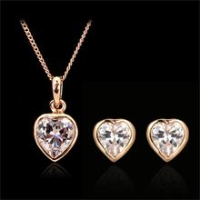 Unique Chic Love Heart Cubic Zirconia Pendants Engagement Wedding Jewelry Sets 18KRGP Necklaces and Earrings Wholesale DFS281