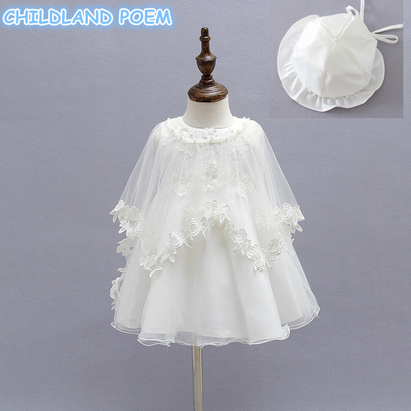 Baby Girl Baptism Gown Christening Dress Lace Pearl Princess 1 year Birthday Party Wedding Baby Dress With Hat 3 pcs/set Clothes<br>