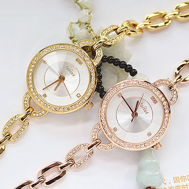 Top Womens Watch Julius Japan Quartz Hours Fine Fashion Metal Chain Bracelet Clock Rhinestone Girl Christmas Birthday Gift Box<br>