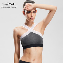 Mermaid Curve Yoga Sports bra vest cross gather speed  running fitness Hollow Out top underwear make exercise more comfortable
