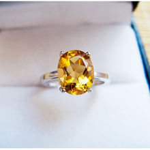 Classic yellow crystal ring 7mm*9mm natural citrine silver ring solid 925 silver gemstone ring yellow gemstone ring for lady