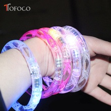 TOFOCO Colorful Led Acrylic Ligth Bracelet Toy For Kids Flash Light Toys Novelty Wholesale(China)