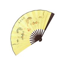 SZS Hot Double Dragons Poem Oriental Painting bamboo Ribs Foldable Hand Fan(China)