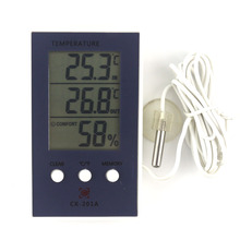 New LCD Digital Weather Station Thermometer Hygrometer In/Out Temperature Meter Indoor Humidity Meter with Temperature Sensor(China)