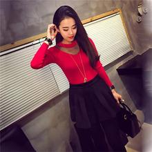 Wholesale Women Sexy Mesh Sheer Splicing Pullover Knitted Sweater Long Sleeve Slim Knitwear Base Tops Blouse