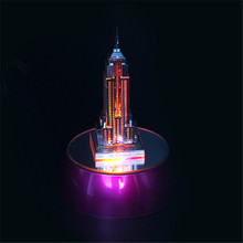 Empire State Building 3D Metal Puzzle + Colorful Base DIY Buildings Puzzles Educational Creative Gift Kids Toys For Decoration