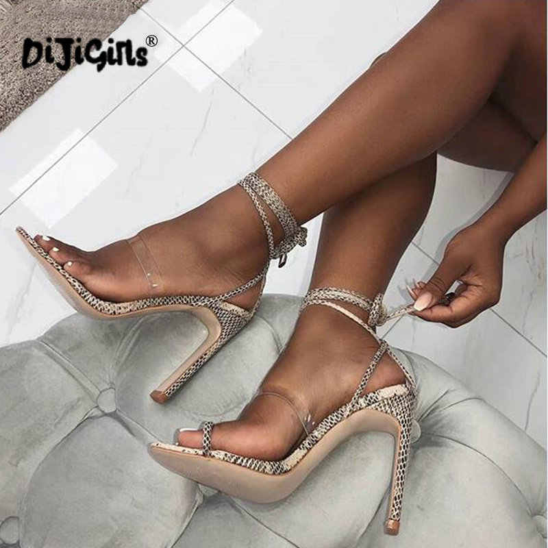 4ae7492e3167 dropship Summer Sandals Sexy Women Cross Strap Lace Up Open Toe Leopard Stiletto  Heels High Heel